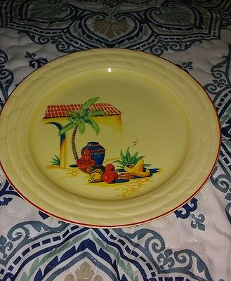 W- S- GEORGE Lido Canarytone 9 Dinner Plate Southwest Mexican Theme Display Old