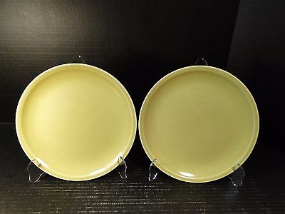 TWO Paden City Pottery Greenbriar Lunch Plates 9 14 Green