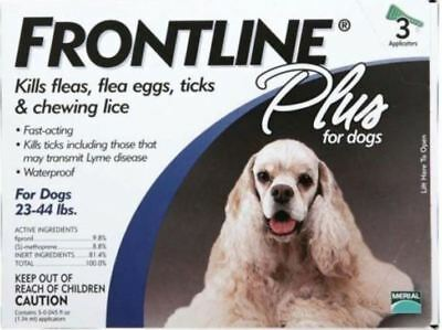 Brand New Merial Frontline Plus for Dogs 23 to 44 lbs 3 pack Open Box