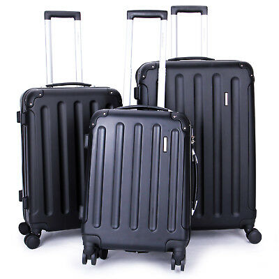 New 3 Piece Travel Spinner Luggage Set Bag ABS Trolley Carry On Suitcase Black