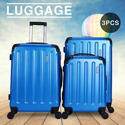 New Blue 3 Pieces Travel Spinner Luggage Set Bag ABS Trolley Carry On Suitcase