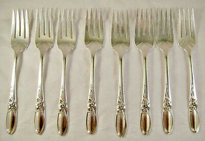 Community Silver Plate White Orchid Pattern Dessert Forks - Ca 1953 - No Monos