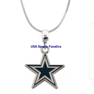 NFL Dallas Cowboys Team Star Logo Pendant Necklace On 925 Snake Chain  5 Sizes