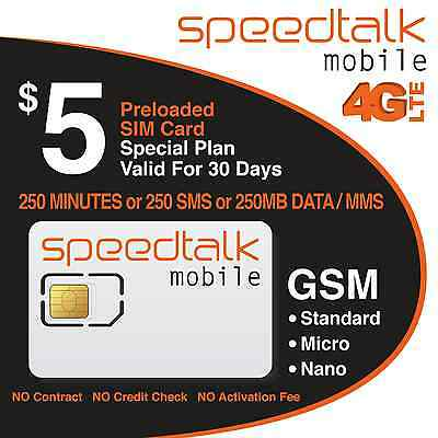 5 Prepaid GSM SIM Card 250 Minutes 250 Text 30-Day Wireless Service No Contract