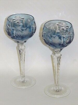 PAIR Nachtmann Traube Aqua Cut to Clear 8 14 Tall Wine Hock glasses NEVER USED