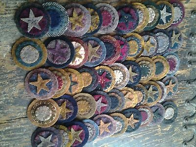 Sewn Wool Pennies stars and stitches Triple Stacked  Primitive  Assortment 25 ct