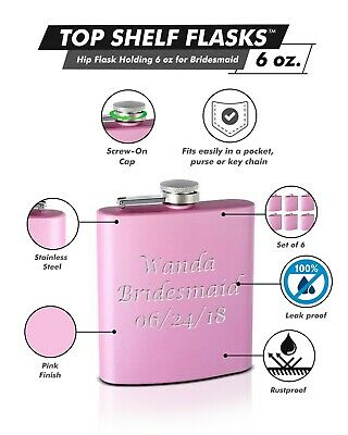 6-Pack Personalized 6oz Bridal Party Hip Flasks Pink