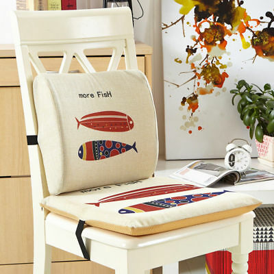 Cotton Canvas Memory Foam Back Lumbar Support Cushion Chair Seat Pad Combo Set