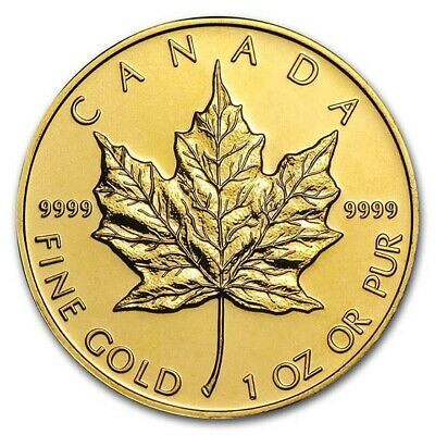 1 oz Gold Canadian Maple Leaf Coin Random Year BU - SKU 87709