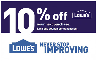 FIVE Lowes 10 OFFCoupon- INSTANTCoupons - ONLINE or INSTORE 3-Min FAST Delivery