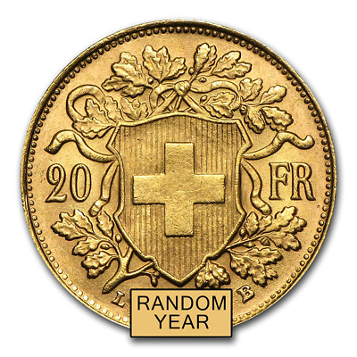 Special Price Swiss Gold 20 Francs Helvetia Coin AU Random Year - SKU 151896