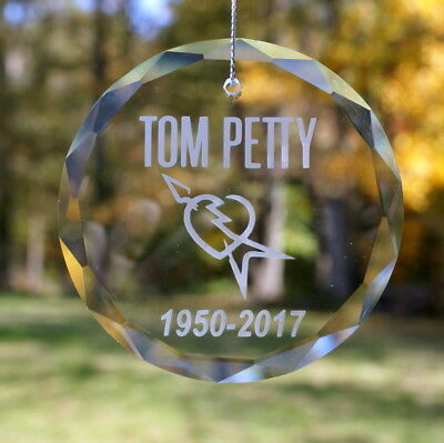 Handmade Etched Tom Petty Ornament  Suncatcher - Donation Sale