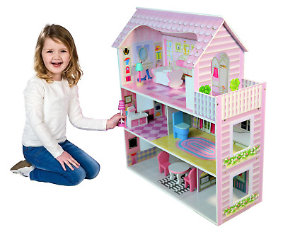 Large Childrens Wooden Pink Dollhouse Fits Barbie Doll House W 8 Pcs Furniture