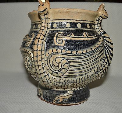 c-1920s Marked Asian Pottery Beige and Blue Encircled with Four Dragons Pot