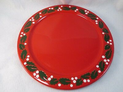 Waechtersbach Germany red Christmas Holly 12 round platter cake desserts plate