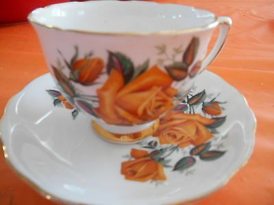 COLCLOUGH MADE IN ENGLAND BURNT YELLOW ROSE FINE BONE CHINA TEA CUP