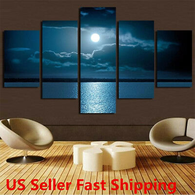 New Modern Abstract Wall Decor Art Moon Sea Oil Painting Canvas Painted Unframed