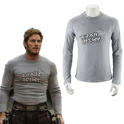 Men Guardians of the Galaxy 2 Star Lord Shirt Peter Jason Quill Cosplay Costume