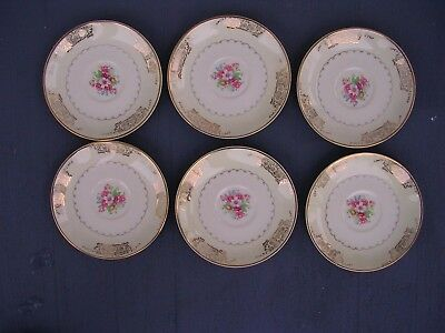 6 Vintage Paden City Pottery D-42 22K Gold Saucers 6 MADE IN U-S-A-RARE