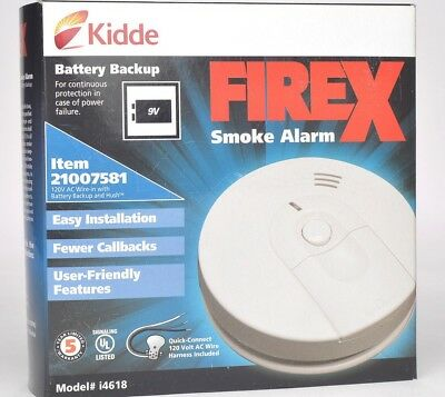 KIDDE FIREX i4618 21007581 IONIZATION SMOKE ALARM DETECTOR Hardwired w Battery