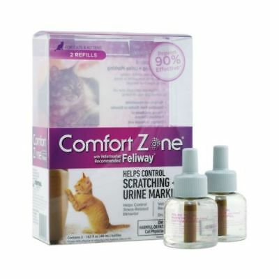 Comfort Zone Feliway Diffuser Refill 2Pack For Cat Calming ScratchingUrine Mark
