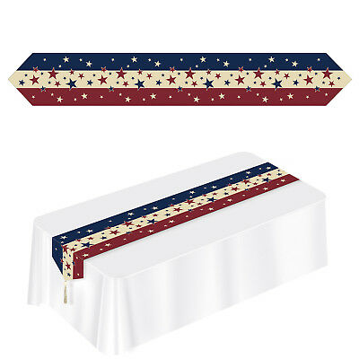 PATRIOTIC FLAG 4TH OF JULY red white blue stars stripes Americana Table RUNNER