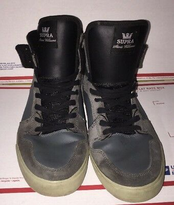 SUPRA size 12 Mens Stevie Williams Grey Leather Suede  Sneakers Skate Shoes