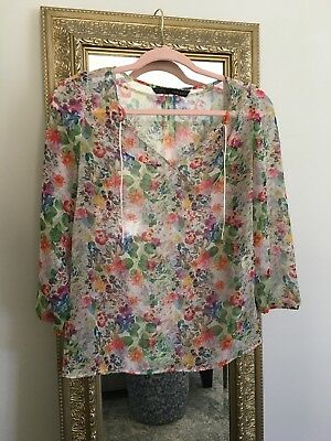 Zara Floral Blouse With Ties Size XS