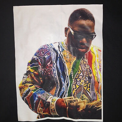 2XL Black TShirt Notorious B-I-G- BIG Biggie Smalls Picture Chain Counting Money