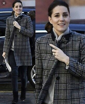 Last oneRare Zara Grey Blue Checked Plaid wool Coat Kate Middleton8126740