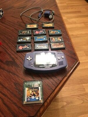 Nintendo Game Boy Advance Indigo Handheld - 11 Games Zelda Kirby Mario Kart