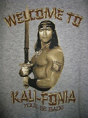 Vintage Welcome to Kalifornia Cali Arnold Schwarzenegger Mens T-Shirt Size Small