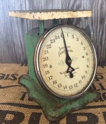 Antique Primitive Early 1900s Old GREEN Rustic Farmhouse Kitchen Scale WORKS