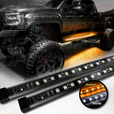 OPT7 48-60 Side Running Board LED Light Strips - Amber Turn Signal DRL Courtesy