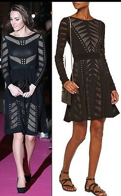 Temperley London Black Beau Knit Flare Dress Size Large Royal Kate Middleton