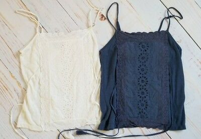 Womens American Eagle Outfitters S2 Eyelet Cami Tops Cream Blue M Medium VGUC