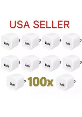 100x White 1A USB Power Adapter AC Home Wall Charger US Plug FOR iPhone 5 5S 6 7