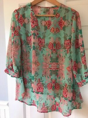 Forever 21 Sheer Mint Green Pink Floral 34 Sleeve High Low Top Small