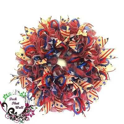 Fourth Of July Mesh Wreath Independence Day Wreath Deck That Wall
