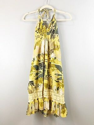 WET SEAL Leaf Print Cotton Halter Backless Summer Dress Yellow SZ XS