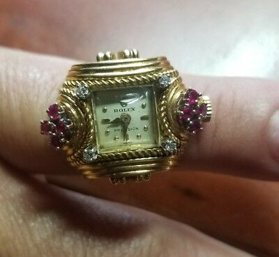 Antique RARE 18kt Gold Rolex Watch RING DIAMONDS - RUBIES Runs PERFECTLY wind up