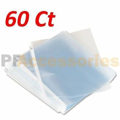 Pack of 60 Economy Weight Clear Poly Sheet Page Protectors Non-Stick 8-5 x 11