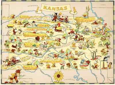 Canvas Reproduction Vintage Pictorial Map of Kansas Print Ruth Taylor 1935
