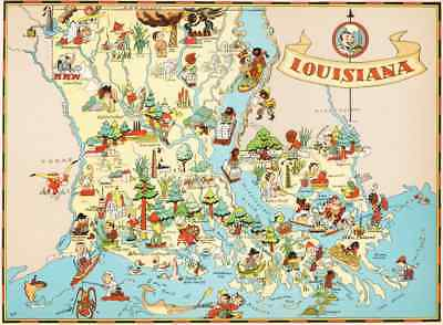 Canvas Reproduction Vintage Pictorial Map of Louisiana Print Ruth Taylor 1935