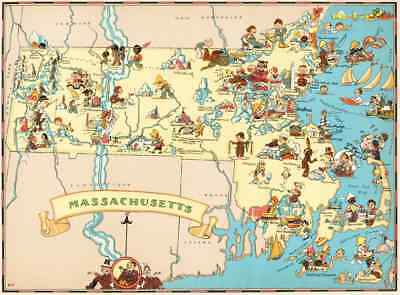 Canvas Reproduction Vintage Pictorial Map of Massachusetts Print Ruth Taylor1935