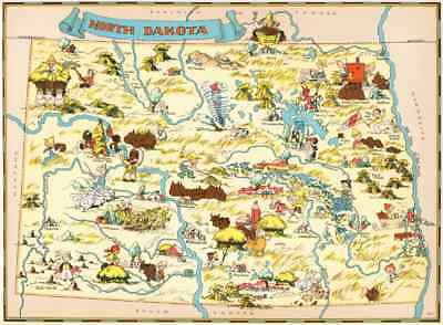 Canvas Reproduction Vintage Pictorial Map of North Dakota  Print Ruth Taylor1935