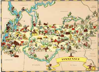 Canvas Reproduction Vintage Pictorial Map of Tennessee Ruth Taylor 1935