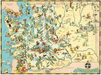 Canvas Reproduction Vintage Pictorial Map of Washington Ruth Taylor 1935