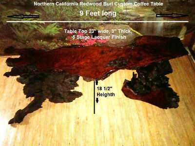 Rare 1960s Northern California Redwood Burl Custom Coffee Table