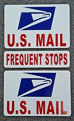 2  U-S- MAIL Magnetic Signs USPS - 8 X 12 PLUS 1 FREQUENT STOPS - 3 X 12